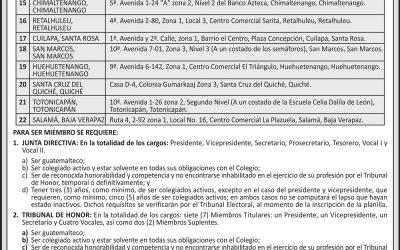 CONVOCATORIA A: Sesión de ASAMBLEA GENERAL EXTRAORDINARIA, para elegir JUNTA DIRECTIVA Y TRIBUNAL DE HONOR, período 2017 – 2019