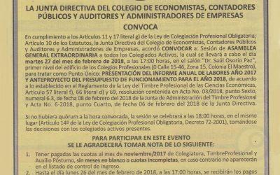 Convocatoria para Asamblea General Extraordinaria del 27 de febrero 2018.
