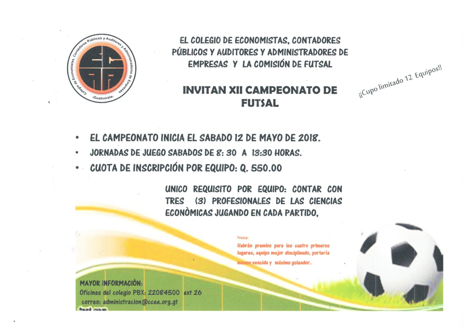 XII CAMPEONATO DE FUTSAL, CUPO LIMITADO