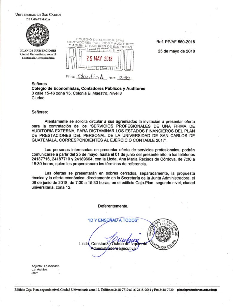 Servicios Profesionales de una firma de auditoria externa, para Dictaminar los estados financieros del plan de prestaciones del personal de la universidad de san carlos de Guatemala, correspondientes al ajercicio contrable 2017
