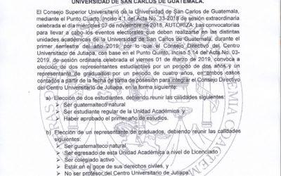 Convocatoria para la Elección de dos representantes estudiantiles y un representante de graduados para integrar el Consejo Directivo del Centro Universitario de Jutiapa de la Universidad de San Carlos de Guatemala.