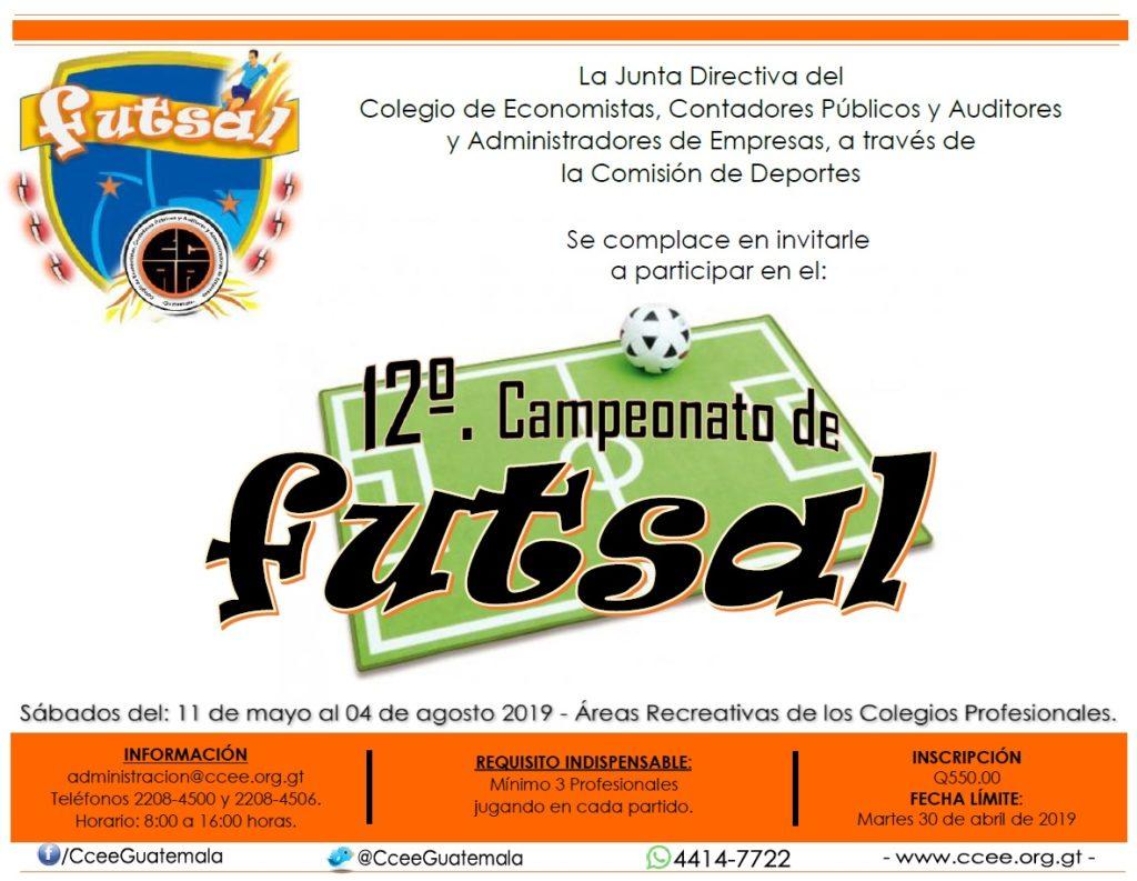 Invitación a participar en el Campeonato de Futsal 2019