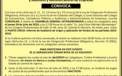 Convocatoria Asamblea General Extraordinaria, 18 julio 2019.